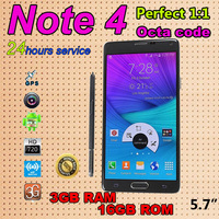 New Arrival Best Note 4 Phone Real 2.5GB RAM 16GB ROM MTK6592 Octa core 5.7 inch Original Logo Phones Android 4.4.2 Mobile Phone