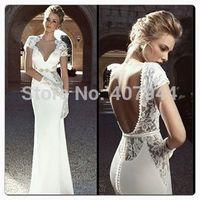 Designer White Chiffon Lace Mermaid  Short Sleeves Backless Sexy Long Wedding Dresses Pearls Bridal Dress 2015 vestido de noiva
