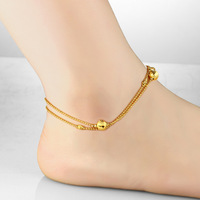 n726 Fashion 18k Gold Plated Anklet or Bracelet Lucky beads Chain for Girlfriend XMAS Jewelry