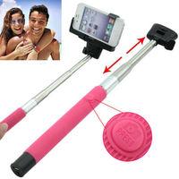 NEW rose red Bluetooth Shutter Extendable Handheld Selfie Stick Monopod for Samsung iIphone