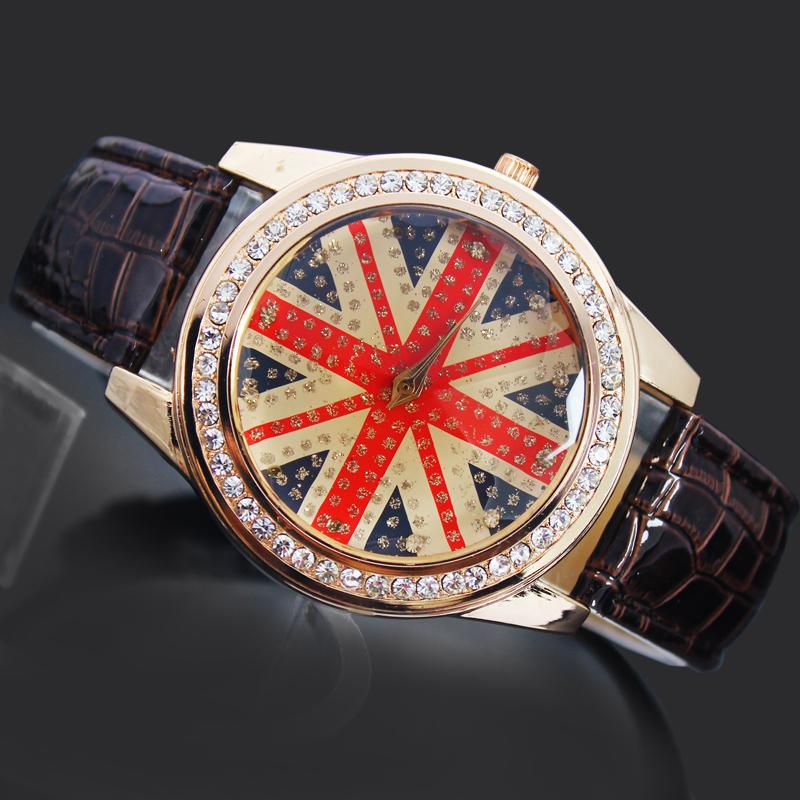 Stylish Brown Women s Ladies Girls UK Flag Style Jewelry Diamond Gifts Hours Clock Quartz Clocks