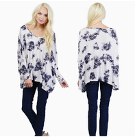 2014 Womens Autumn Loose Asymmetric Design Long Sleeve Batwing Sleeve T-shirt Tops With Ink Floral Print