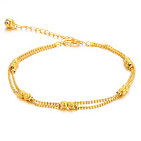 n728 Girls Exquisite 18k Gold Plated Anklet or Bracelet Sandy beads Chain Bell Free shippng for girlfriends