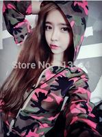 Hotsell!!! Women's Jackets Red Camouflage Hooded Free Size Outside Women Jacket Fashion Style 1pcs Free Shipping