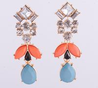 Free Shipping New Gem Shourouk Design Luxury Crystal Fashion Women Drop Earrings Vintage Elegant Statement Earrings
