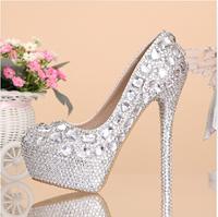 Women High Heels Rhinestone Wedding Shoes Handmade Customized Platform Pumps Round Toe Fashion Female sy-693