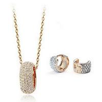 Fashion Austria crystal bridal jewelry Full rhinestone Wedding style Round Earrings necklace jewelry sets