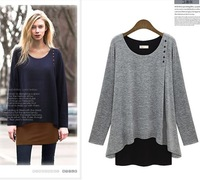 new fashion spring autumn cotton long sleeve plus size women casual blusas femininas t shirt women blouse 2014