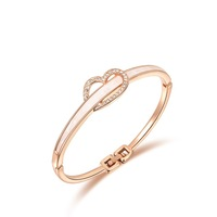 Wholesale Free shipping fashion alloy cuff bracelet heart style bracelet jewelry romantic love bangles girl's gift