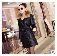 2014 Winter New Women Korean Slim PU Motorcycle Leather Parkas Coat Genuine Racoon Dog Fur Collar Long Leather Coat Outerwear