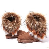2014 New arrival winter warm high long snow boots artificial fox rabbit fur leather tassel women's shoes M164