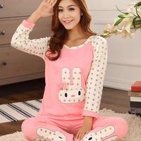 two-piece spring autumn women pajama sets cotton rabbit prints sleepwear nightgown