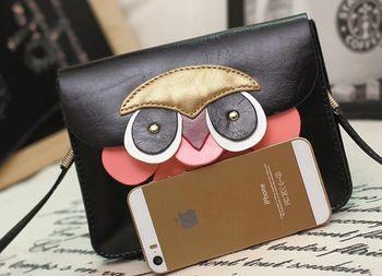 Бесплатная доставка продажа прекрасный многослойная сотовый телефон сумки девушка сова через тела сумка через плечо женщины сумка почтальона сумочки мини сумки