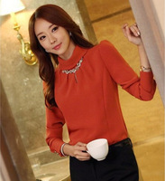 2014 New Korean Style Elegent Lady Chiffon Blousees With Necklace For Women Charm Long Sleeve Top Free Shipping c5001