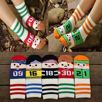 2014 Harajuku High quality South Korean women's/man Cute Cartoon Stripe football sport Socks meias soks