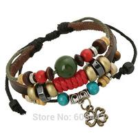 BA163 Wholesale Handmade Clover Flower Genuine Leather Adjustable Bracelet Wristband Jewelry Bijouterie Unisex Girls Woman 2014