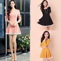 Elegant Women's Lady Crewneck Adjustable Waist Slim Long Sleeve Mini Dress FreeShipping