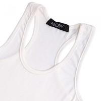 Women's Tank Top Stretch Sleeveless Camisole Racerback Singlet Vest Tops Waistcoat White