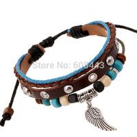 BA157 Wholesale Handmade Wing Feather Genuine Leather Adjustable Bracelet Wristband Jewelry Bijouterie Unisex Girls Woman
