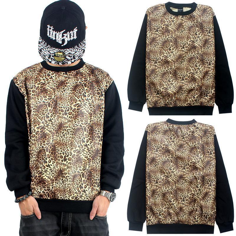 RHUDE Sweatshirt Pullover Plus Big Loose Thick Fleece Leopard Print Men 2014 Pyrex Hip-Hop Black O-Neck Hoodie Blazer Hip Hop(China (Mainland))