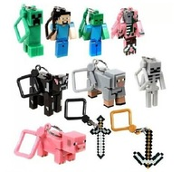 Hot sale 10pcs/lot Minecraft Hanger Creeper Action Figure MC Toys models Backpack Pendants Keychains 3D models