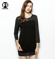Fancyinn Brand 2014 Autumn New Station Europe Long-Sleeve Dress Boutique Square Dress Hollow Mosaic Casual Mini Evening Dress