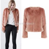 2014 New Autumn Winter Fashion Women's Long Hairy Shaggy Faux Rabbit Fur Collarless Long Sleeve Short Jackets Coat Outerwear