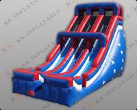 dark blue durable large inflatable dry slide KKDS-L020