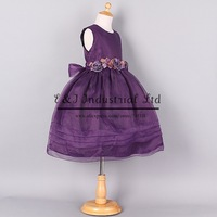 2014 New Fashion Girl Dresses Purple Flower Belt Princess Party Dress Top Grade Children Birthday Gift Clothes GD40918-10