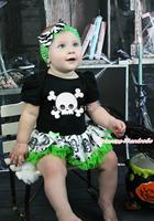 Halloween Black Bodysuit White Skull Print Pettiskirt Girl Baby Dress NB-18Month MAJS0456
