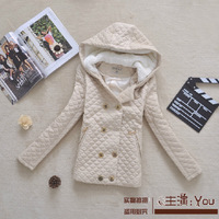 Free shipping new 2014 autumn and winter women's fashion double-breasted hooded Slim plus size warm jacket winter coat