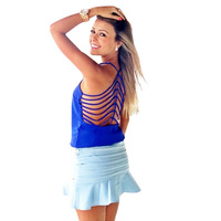 New 2014 Summer Women Clothing Sexy Backless Hole Hollow Out Sleeveless Women Blouse Body Tops Solid Color Blue Free Shipping