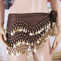 158 Golden Coins Belly Dance Hip Waist Belt Brown
