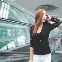Newest 2014 Spring Autumn Blazers Tops Women Lace Patchwork Single Button Blazers Cotton Blending Long Sleeve Blazers Women