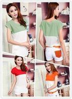 TS 2014 Summer Fashion Patchwork Pockets Shirts Tops Girls Casual Short Sleeve Round Neck Chiffon Blouses Women Plus Size Women