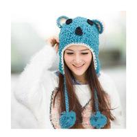 HOT sale Ms. cute devil angle winter knit hat  Orecchiette warm ovo ball wool cap