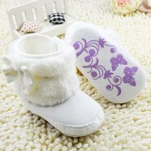 nuovo primo camminatore #W hite bambini inverno ragazza bambino stivali infantili del bambino morbido sole bowknot neve boots0-18 mesi(China (Mainland))