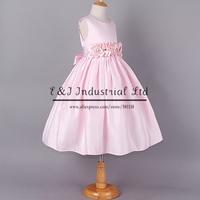 2014 Girl Dresses Pink Flower Belt Chiffon Polyester Fashion Grace Party Dress Hot Selling Free Shipping GD40918-14