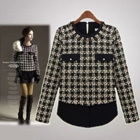 Free Shipping Wholesale & Retail Women's With Good Quality  wool coat Hit color stitching wild plaid knit shirts