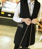 2014 New Fashion Autumn Long Design Woolen Blend Suit Women Vests Waistcoats Black V-neck Outwear