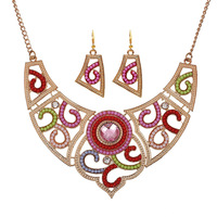 New design colorful exotic European and American retro plating women's rhinestone jewelry set necklace earrings wedding party