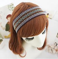 Boho Folk style Multi Color Geometric Fabric Wide Hairbands Headbands Women