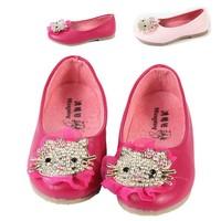 Baby Kids Gril Princess High Top Fashion Diamond KT Cat  Soft Bottom Round Head Princess Shoes