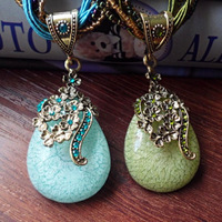 Min Order $15 Free Shipping Fashion Jewelry High Quality  Fashion Bohemia Blue Stone Blue Green Crystal Water Drop  Necklace