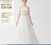 2014 New Arrival Luxury One Shoulder Appliques Floor Length A Line Satin Wedding Dresses