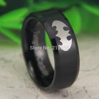 Free Shipping USA UK CANADA RUSSIA Brazil Hot Selling 8MM Black Satin Center Beveled Batman Men's Fashion Tungsten Wedding Ring