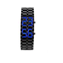2014 New Fashion Men Women Lava Iron Samurai Metal LED Faceless Bracelet Watch Wristwatch (China (Mainland))