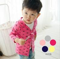 Girl/Boy cardigan baby spring V-neck thin basic dot/dog children's clothing kids sun protection jackets & coats outwear 5pcs/lot