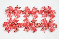 New 2014 Cute mouse Hair bow unique handmade Mouse fabric kawaii Hair bow hair clip 10 pcs/lot freeshipping