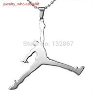 1pcs Men's Large Stainless Steel Jordan design Pendant Ball chain Basketball fans